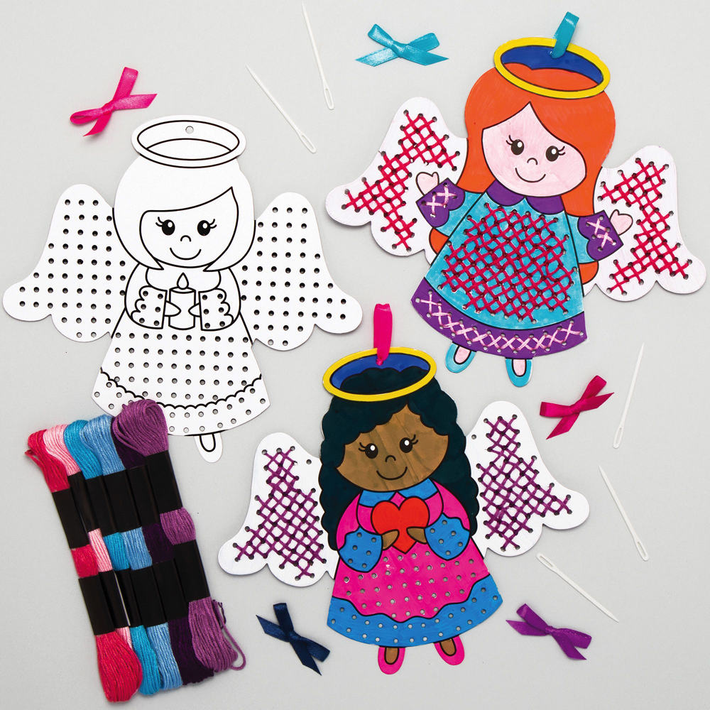 Angel Colour-in Cross Stitch Decoration Kits (Pack of 5)