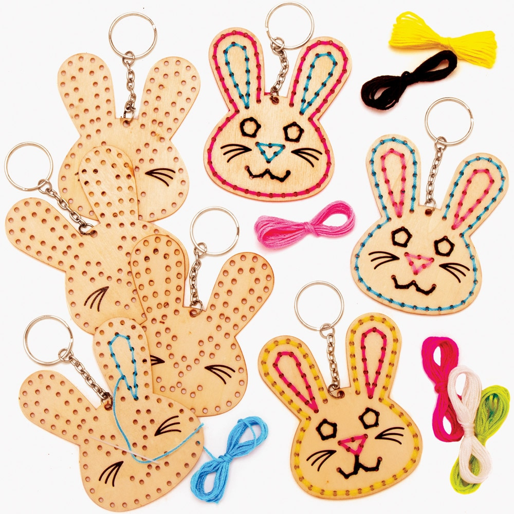 Easter Bunny Wooden Threading Keyring Kits (Pack of 5)