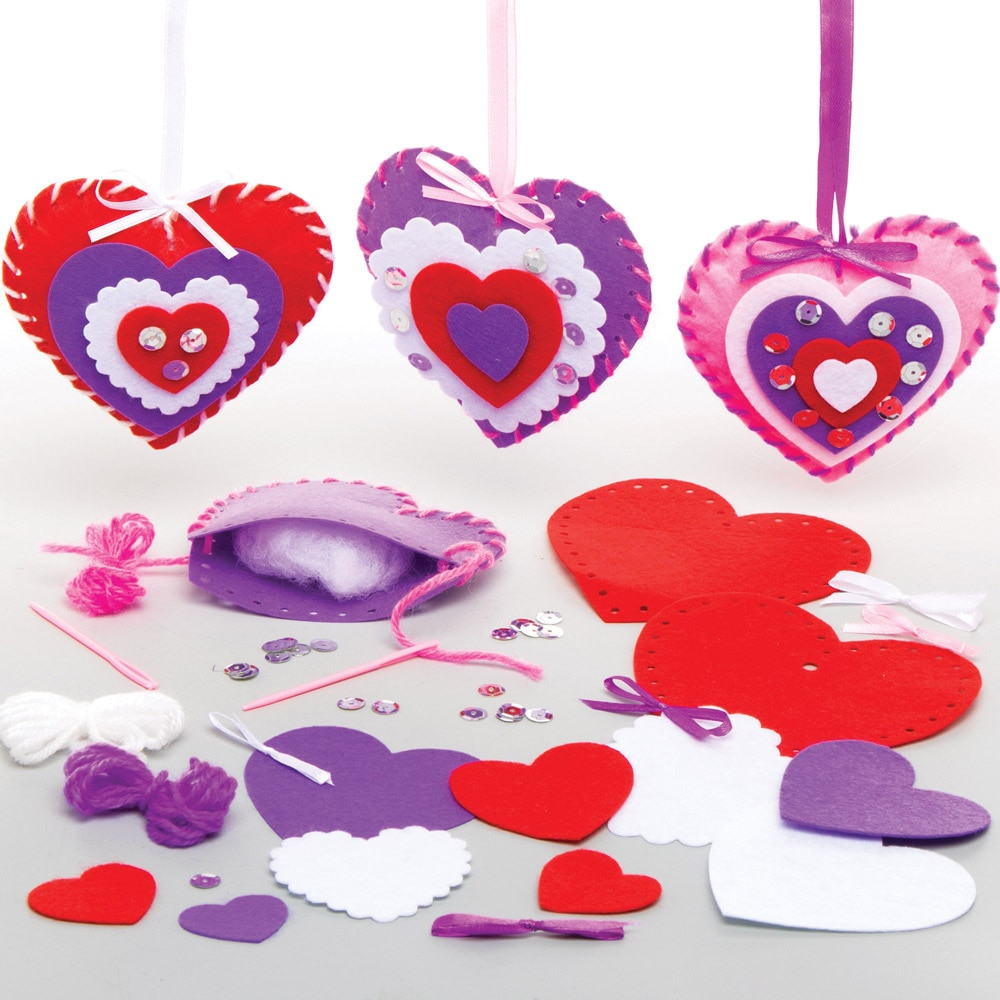 Heart Sewing Kits - 3 Felt Sewing Kits For Kids. Sewing For Beginners. All Accessories Included. Size 10cm.