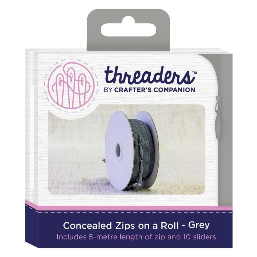 Threaders Concealed Zips on a Roll - Grey
