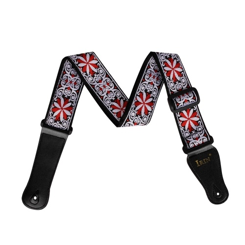 IRIN GS-02 Adjustable Embroidery Guitar Straps for Acoustic Electric Guitars Bass Accessories Red