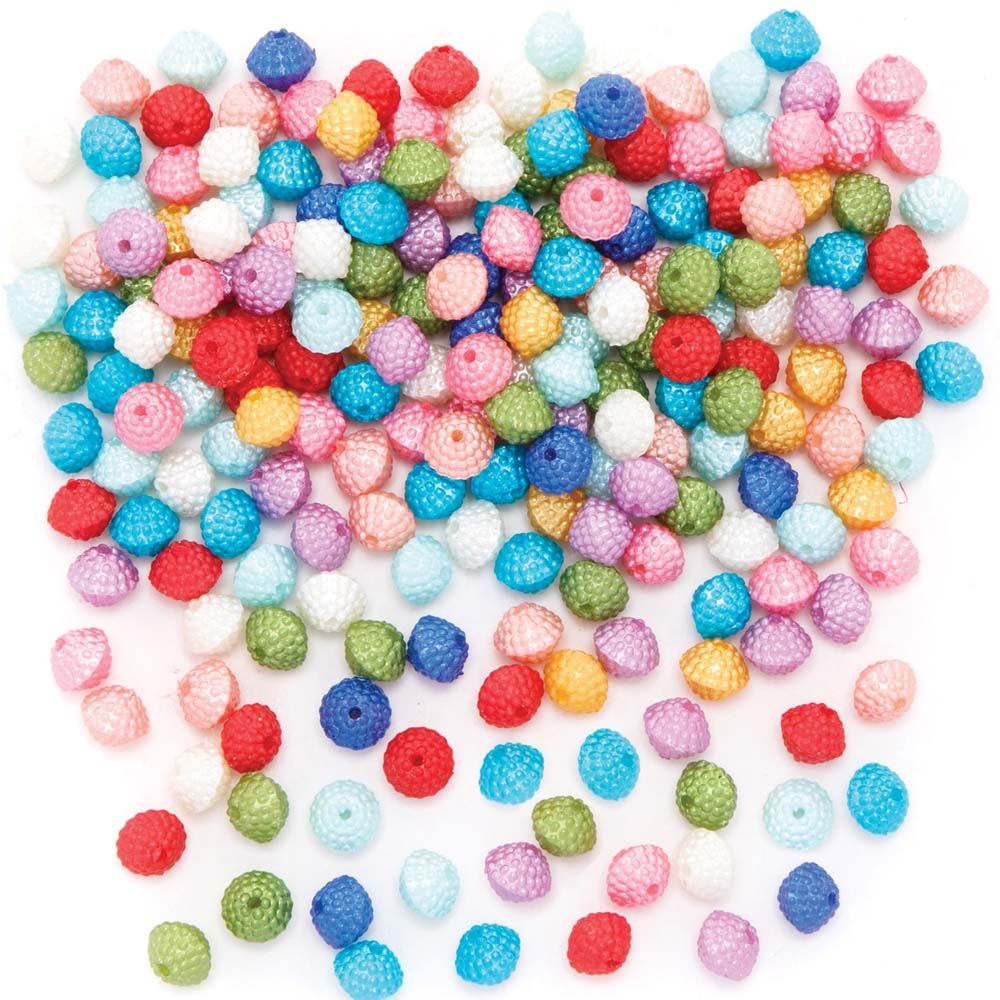 Pearlised Pom Pom Effect Beads (Pack of 250)