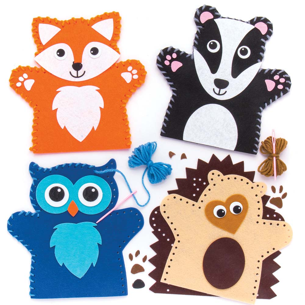 Forest Animal Felt Hand Puppet Kits - 4 Hand Puppets For Kids. Sewing Kits For Kids. Size 19cm.