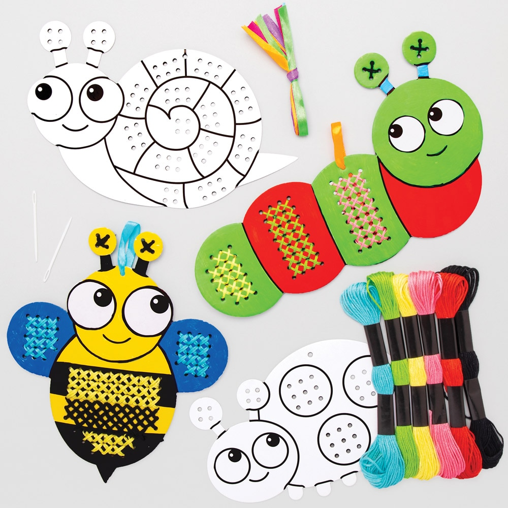 Bug Colour-in Cross Stitch Kits (Pack of 5)