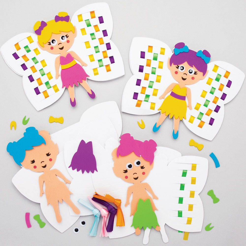Fairy Weaving Kits - 6 Weaving Cards For Kids. Fairy Crafts. Size 14x18cm.