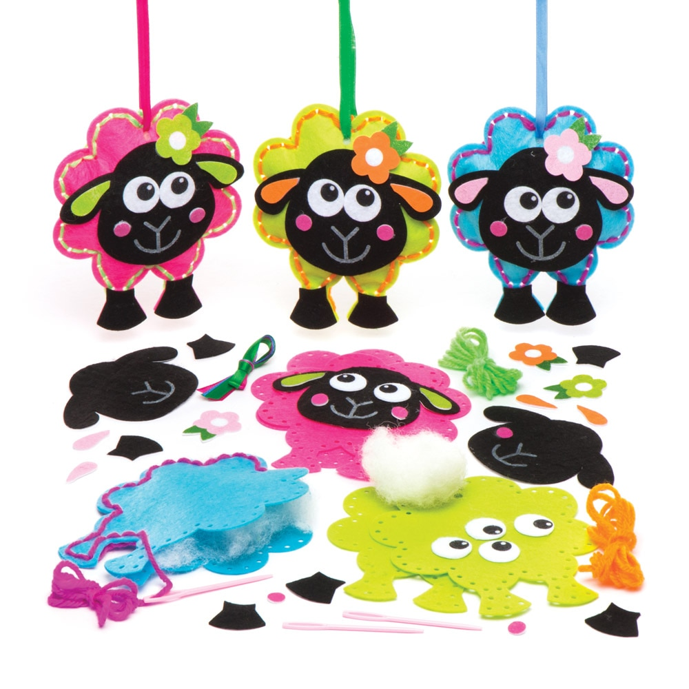 Fluffy Sheep Sewing Kits - 3 Felt Craft Hanging Decorations In 3 Assorted Designs. 13.5cm.