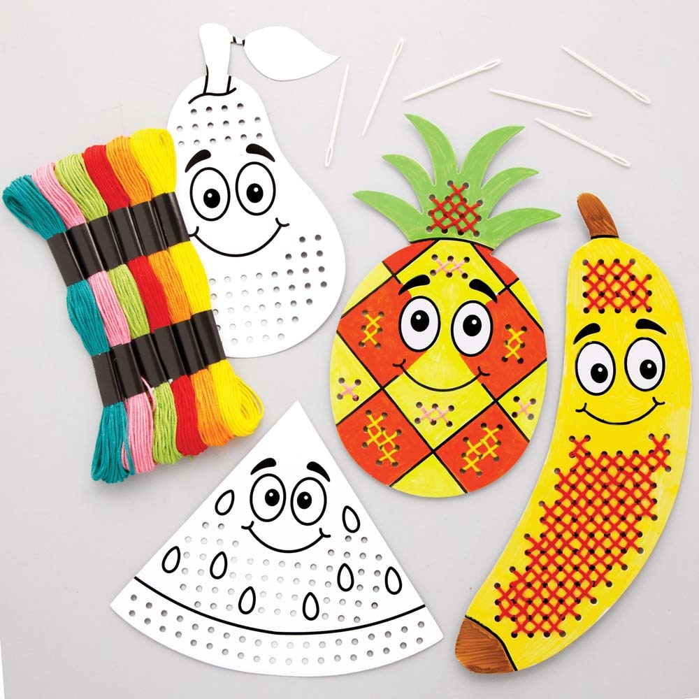 Fruit Colour-in Cross Stitch Kits (Pack of 6)