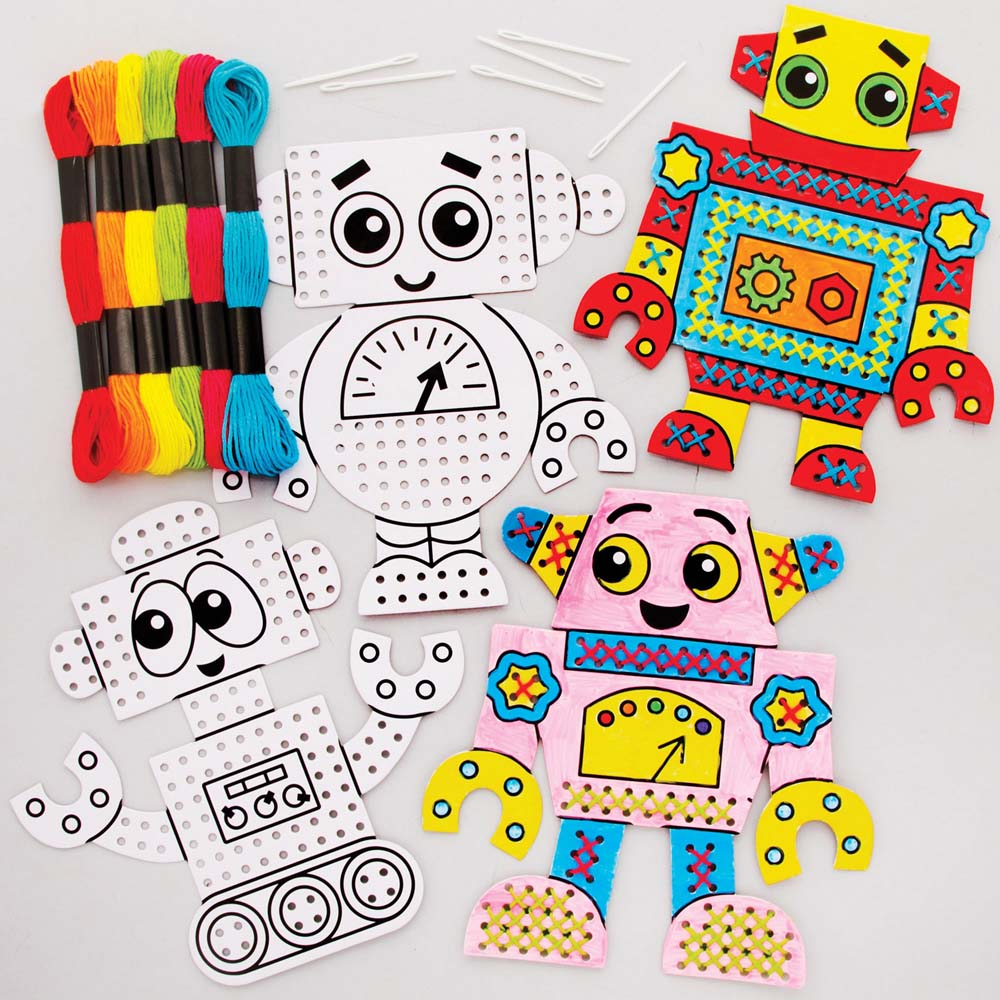 Robot Colour-in Cross Stitch Kits (Pack of 6)