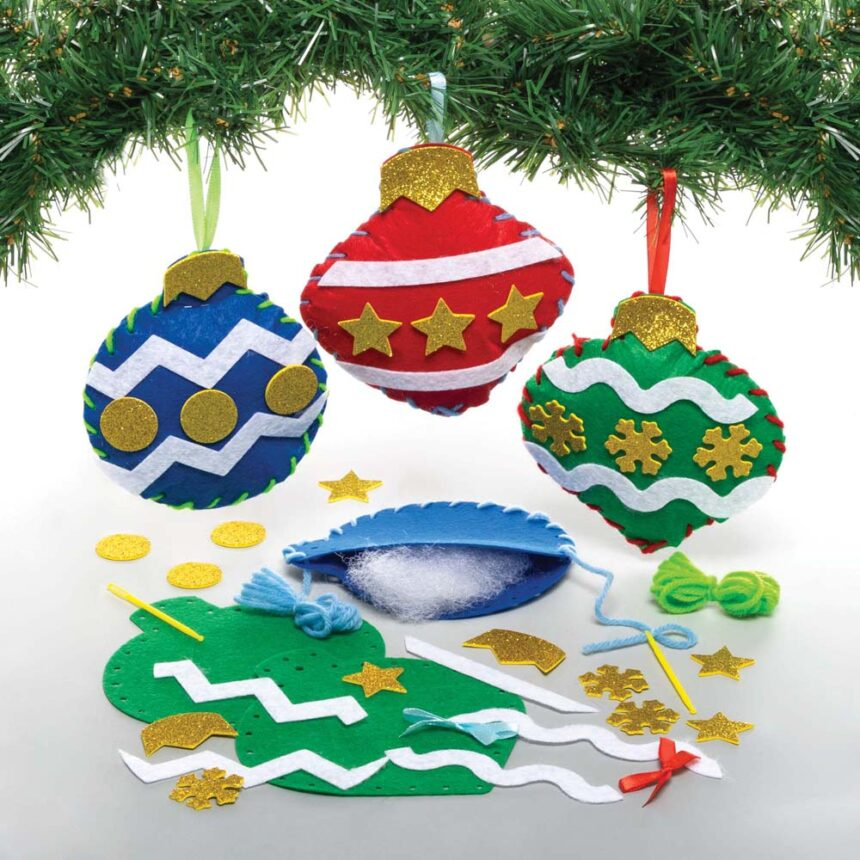 Christmas Bauble Decoration Sewing Kits (Pack of 3)