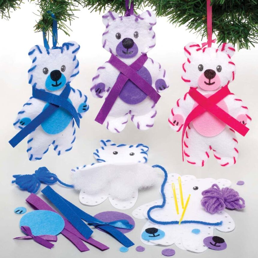 Snow Bear Decoration Sewing Kits (Pack of 3)