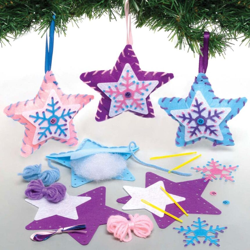 Winter Star Decoration Sewing Kits (Pack of 3)